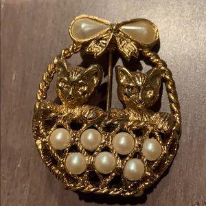 Jewelry - Vintage brooch 2 kittens in basket